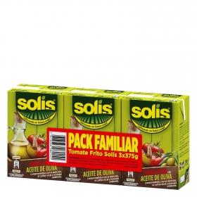 Tomate frito con aceite de oliva Solís pack de 3 brik de 375 g.
