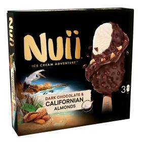 Bombón helado de chocolate negro y almendras Nuii 3 ud.