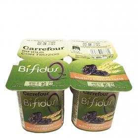 Yogur bífidus desnatado de muesli y ciruelas pasas Carrefour pack de 4 unidades de 125 g.