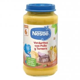 Tarrito de verduras con pollo y ternera desde 6 meses sin sal añadida Nestlé sin gluten 250 g.