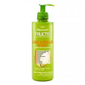 Crema gel liso&brillo 10 en 1 sin aclarado cabello rizado Garnier-Fructis 400 ml.