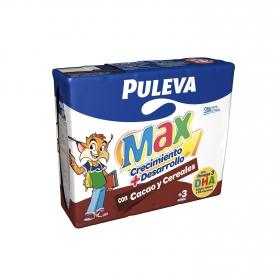 Bebida láctea energía y crecimiento con cereales y cacao Puleva Max pack de 3 briks de 200 ml.