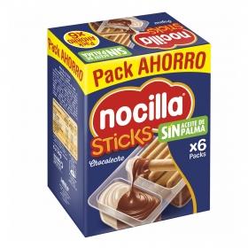 Palitos de pan con crema de cacao y leche con avellanas Sticks Nocillapack de 6 unidades de 30 g.