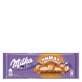 Chocolate con leche relleno de caramelo y avellanas enteras Milka 300 g.