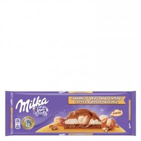 Chocolate con leche, avellanas y caramelo
