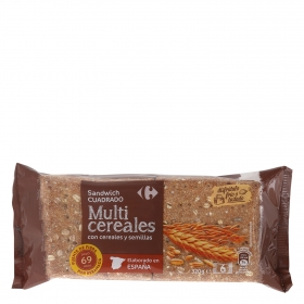 Pan sándwich multicereales Carrefour 320 g.