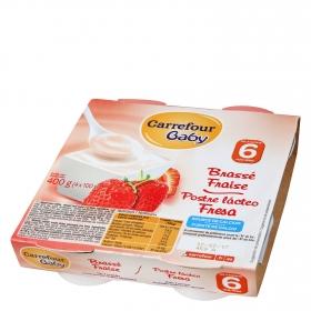 Postre lácteo fresa
