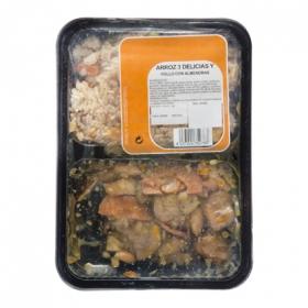 Menú Arroz 3 delicias + pollo almendras