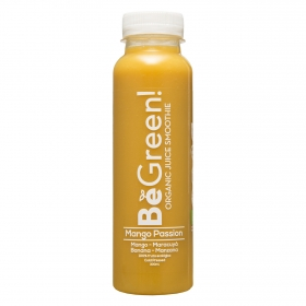 Smoothie de mango, maracuyá, banana y manzana ecológico Be Green botella 30 cl.
