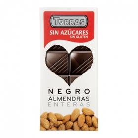 Chocolate negro puro/almendras enteras sin azúcar - Sin Gluten