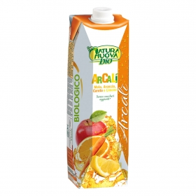 Zumo ecológico de manzana, naranja, zanahoria y limón