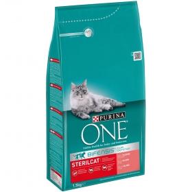 Purina ONE Pienso para Gato Adulto Esterilizado Salmón y Trigo 1,5Kg