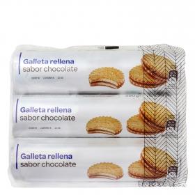 Galletas rellenas de crema chocolate Producto blanco pack de 3 unidades de 250 g.