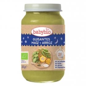 Tarrito de guisantes, maíz y arroz desde 6 meses sin sal añadida ecológico Babybio sin gluten 200 g.