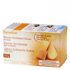 Jabón de manos en pastilla exfoliante con miel Carrefour 100 g.