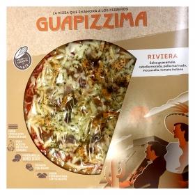 Pizza de pollo marinado, guacamole y tomates italianos riviera Guapizzima 400 g.