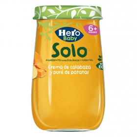 Tarrito de crema de calabaza y puré de patatas desde 6 meses ecológico Hero Baby Solo 190 g.