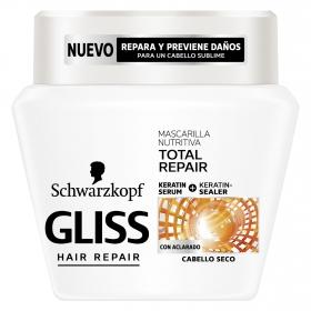 Mascarilla capilar Nutritiva Reparación Total para cabello seco Gliss 300 ml.