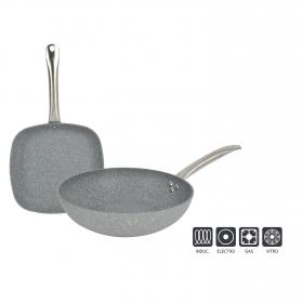 Pack de Wok y Asador de Aluminio Moon San Pietro cm Gris