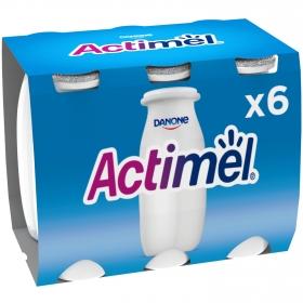 Yogur L.Casei liquido natural Danone Actimel pack de 6 unidades de 100 g.