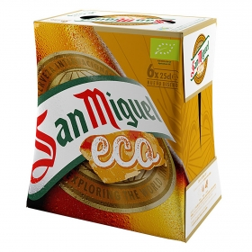 Cerveza San Miguel eco pack de 6 botellas de 25 cl.