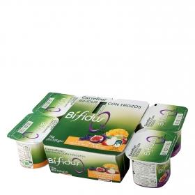 Yogur bífidus desnatado con trozos de fruta Carrefour pack de 8 unidades de 125g