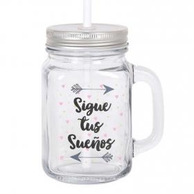 Mug  con Tapa y Pajita HOME STYLE Sigue tus Sueños 450 cc - Transparente