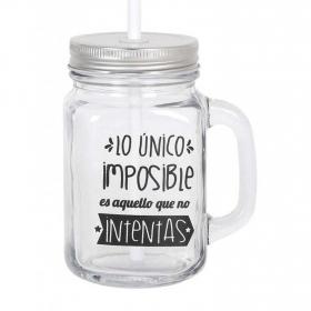 Mug  con Tapa y Pajita HOME STYLE Deco Imposible 450 cc - Transparente