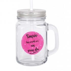 Mug Tapa y Pajita HOME STYLE Smile 450 cc - Transparente