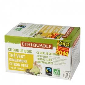 Té verde con jengibre y lima en bolsitas Ethiquable 20 ud.