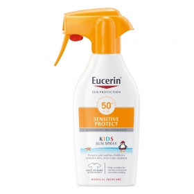 Spray solar SPF 50+ Sensitive Protect Kids Eucerin 300 ml.