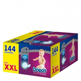 Pañales T4 (9-14 kg.) XXL Dodot Activity 144 ud.