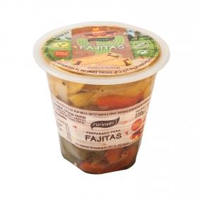 Verduras especial fajitas, pto verde,rojo,amarillo,cebolla,aceite oliva,sal,  230 g