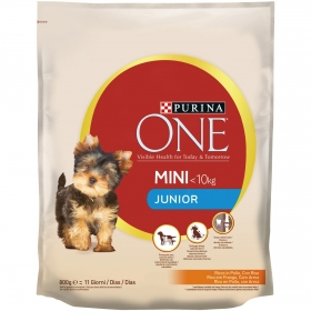 Purina ONE MINI Pienso para Perro Junior Pollo y Arroz 800g