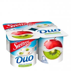 Yogur desnatado con trozos de manzana y kiwi Nestlé - Sveltesse pack de 4 unidades de 125 g.