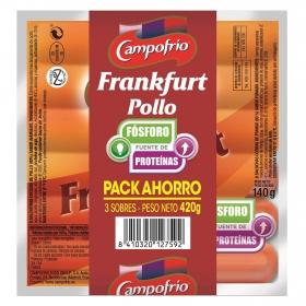 Salchichas de pollo frankfurt Campofrío sin gluten pack de 3 unidades de 140 g.