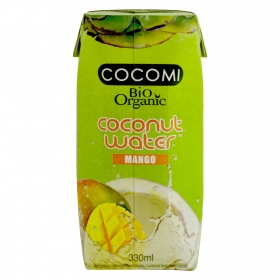 Agua de coco ecológica Cocomi sin gluten sabor mango brick 33 cl.