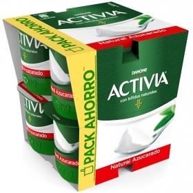 Yogur bífidus azucarado natural Danone Activia pack de 8 unidades de 125 g.