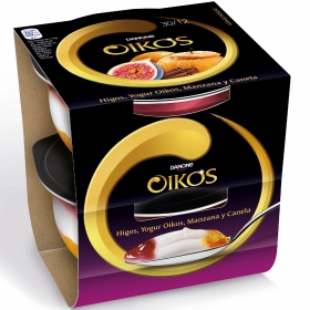 Yogur griego con higos, manzana y canela Danone Oikos sin gluten pack de 2 unidades de 115 g.