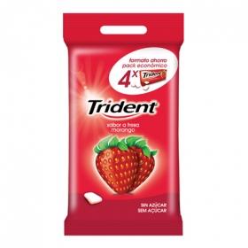 Chicles sabor fresa Trident 4 paquetes de 20 g.
