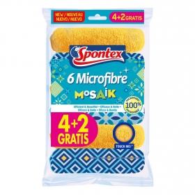 Pack de Bayetas Microfibra Multiuso de gran Tamaño SPONTEX 6 ud - Multicolor