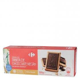 Galletas con tableta de chocolate negro sin azúcar añadido Carrefour 100 g.