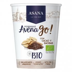 Cereales de avena con cacao y baobab ecológicos Avena Go Asana 55 g.