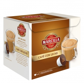 Café con leche en cápsulas Marcilla compatible con Dolce Gusto 14 unidades de 6 g.
