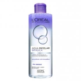 Agua micelar bifásica para piel sensible L'Oréal Skin Expert 400 ml.