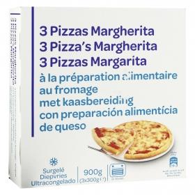 Pizza Margarita Producto blanco pack de 3 unidades de 300 g.