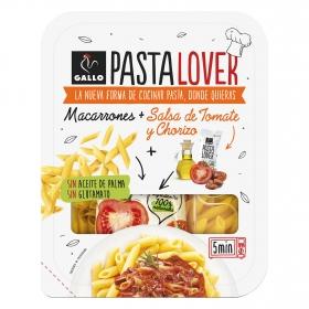 Macarrones + salsa de tomate y chorizo Pastalover Gallo 260 g.