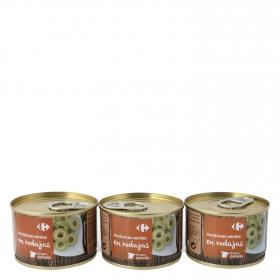 Aceitunas verdes en rodajas Carrefour pack de 3 latas de 50 g.