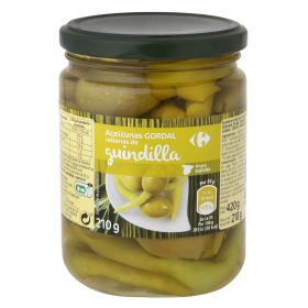 Aceitunas gordal rellenas de guindilla Carrefour 210 g.