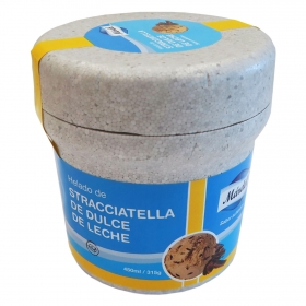 Helado stracciatella de dulce de leche Mardel 430 g.